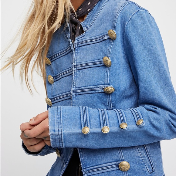 FREE PEOPLE denim jeans jacket with gold buttons L